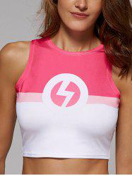 Slimming Color Block The Flash Print Crop Top For Women - ROSE RED XL