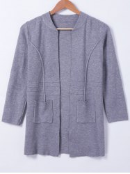 Casual Stand Neck Long Sleeves Pocket Cardigan For Women -