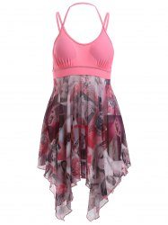 Séduisante Spaghetti Strap Beauty Print High Low One-Piece Swimsuit - ROSE PÂLE