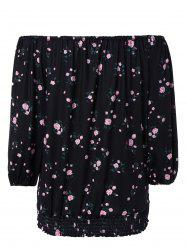 Stunning Off-The-Shoulder Floral Blouse For Women - BLACK