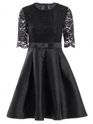 Retro Jewel Neck 1/2 Sleeve Solid Color Lace Spliced Women's Ball Gown Dress - BLACK M