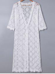 Sweet 3/4 Sleeve Lace Duster Coat For Women -