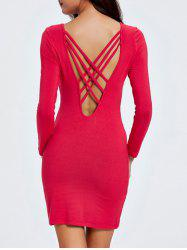 Backless Criss Cross Long Sleeve Sheath Cocktail Dress