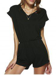 Casual V Neck Pocket Design Romper -