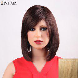 Fashion Medium Bob Style Siv Hair Straight Side Bang Capless Human Hair Wig For Women