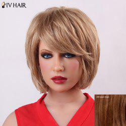 Fluffy Short Layered Siv Hair Trendy Natural Straight Capless Human Hair Wig For Women - AUBURN BROWN