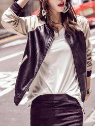 Long Sleeve Faux Leather Bomber Jacket - BLACK