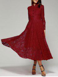 Long Sleeve Stand Collar Wine Red Lace Dress -