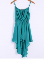 Alluring Spaghetti Strap Solid Color Irregular Hem Women's Chiffon Dress - LAKE GREEN