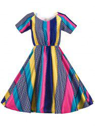 Retro Women's Colored Striped Flare Dress