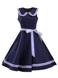 Sailor Collar Sleeveless Skater Dress - NAVY BLUE