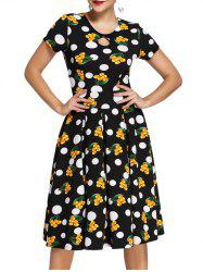 Vintage Women's Polka Dot Printed Flare Dress
