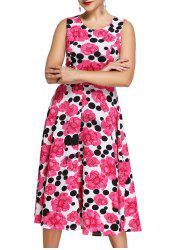 Graceful Women's Sleeveless Floral Print Flare Dress -