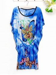 Casual Women's Butterfly Pattern Loose-Fitting Dress -
