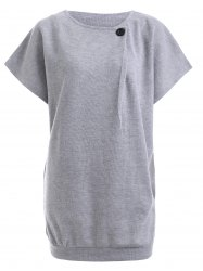 Button Design Short Sleeve Jumper Dress - LIGHT GRAY