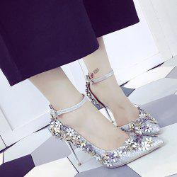 Gorgeous Ankle Strap and Flowers Design Pumps For Women