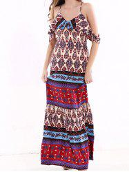 Tribal Print Flounce Long Boho Slip Dress - COLORMIX