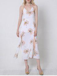 Flowing Backless Floral Pattern Dress -