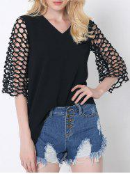 Novelty Splicing Cut Out Asymmetric Blouse -