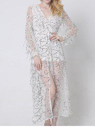 Long Sleeve Sparkly Flowy Summer Maxi Dress with Sequins