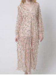 Sheer Long Sleeve Sequin Slit Maxi Prom Dress