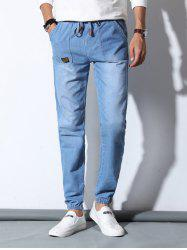 Drawstring Patch Pocket Design Jogger Jeans For Men - LIGHT BLUE