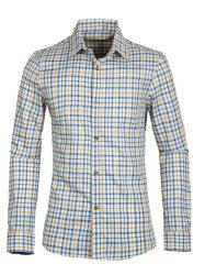 Gingham Turn-down Collar Long Sleeve Shirt For Men -