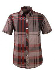 Plaid Snap Button Turn-down Collar Short Sleeve Shirt For Men
