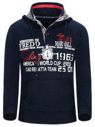 Hooded Compass and Letters Print Thicken Hoodie For Men -