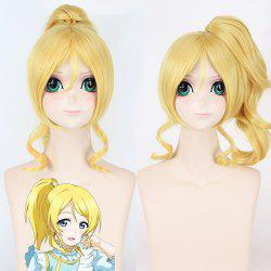 Trendy Yellow Fluffy Wave With Ponytail Love Live Ayase Eli Uniform Style Cosplay Wig - YELLOW