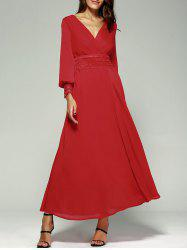 Empire Waist Chiffon Maxi Dress with Long Sleeve - RED