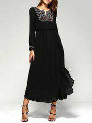 Maxi Long Sleeve A Line Chiffon Swing Dress - BLACK
