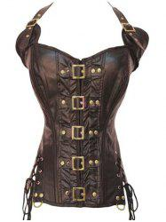 Stunning Gothic Lace Up Halter Latex Corset - COFFEE