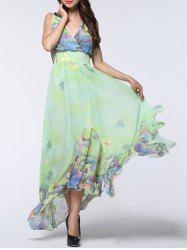 Boho Floral Asymmetric Chiffon Maxi Swing Beach Dress - LIGHT GREEN