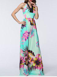 Plus Size Halter Backless Floral Maxi Prom Dress - MINT GREEN