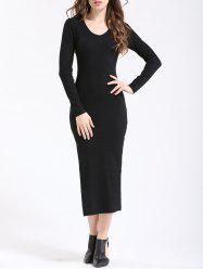 Chic Women's Pure Color Side Slit Slimming Dress