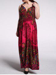 Plus Size Tribal Print High Waist Maxi Dress