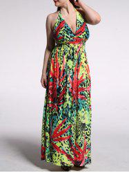 Plus Size Leopard Print Halter Maxi Dress - COLORMIX 7XL