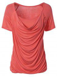 Ruched Plain Ruffled T-Shirt - WATERMELON RED