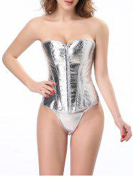 Stunning Lace Up Silver Color Metallic Corset With G-String