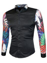 3D Colorful Floral Print Splicing Design Long Sleeve Shirt For Men - BLACK XL