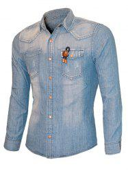 String Embroidered Cat's Whisker Long Sleeve Denim Shirt For Men