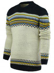 Round Neck Ethnic Style Geometric Pattern Stylish Long Sleeve Sweater For Men -