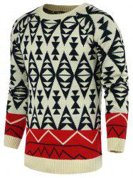 Round Neck Geometric Pattern Color Block Spliced Long Sleeve Sweater For Men -