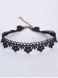 Vintage Hollowed Flower Choker - BLACK