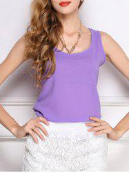 Trendy U-Neck Solid Color Chiffon Women's Tank Top -