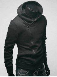 Side Zip Up Long Sleeve Plain Neck Hoodie For Men - BLACK