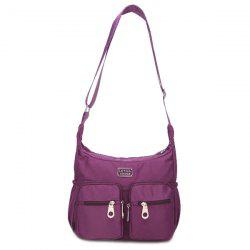 Simple Nylon and Double Pocket Design Shoulder Bag For Women - PURPLE