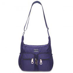 Simple Nylon and Double Pocket Design Shoulder Bag For Women