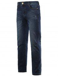 Jeans + Cotton Straight Leg Bleach Wash Zipper Fly Denim - Denim Bleu